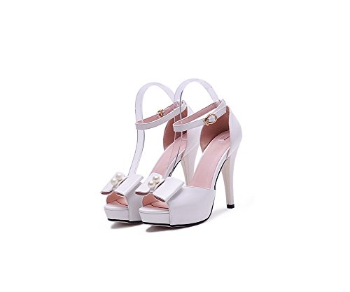Amoonyfashion Femmes Matériau Souple Peep Toe Talons Hauts Boucle Solide Sandales Blanc