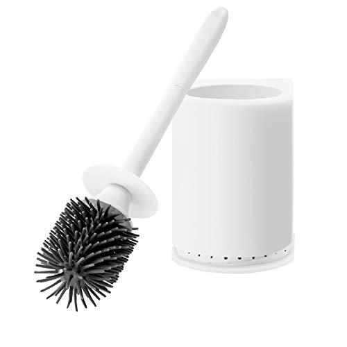 Brush Stylish - Stylish Toilet Brush and Holder Upgraded Modern Design with Soft Bristle Bathroom Toilet Bowl Brush Set Toilet Cleaning Brush Kit Wall Mountable, White