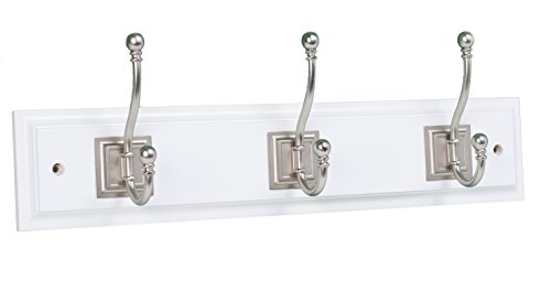 BirdRock Home Classic Hook Coat and Hat Rack | 3 Hooks | White Finish | Satin Nickel Hooks