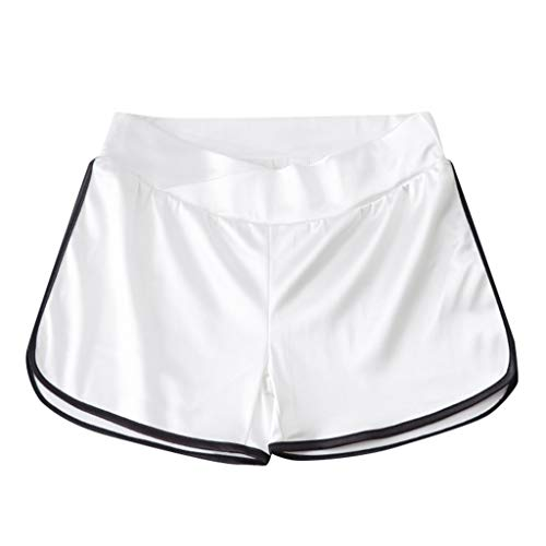 Women's Sports Maternity Shorts Soft Underbelly Wide Elastic Band Waist Pants for Women White