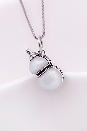 Retro Thai Silver Necklace Pendant Women Girls Short Clavicle Chain s925 Sterling Silver Jade Gourd Ornaments