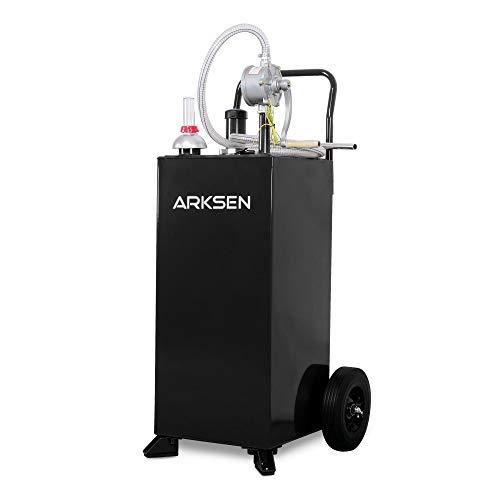 Arksen 30 Gallon Portable Automotive Fuel Transfer Hand Pump Powered Gas Can Caddy Gasoline Diesel Storage Tank Car Boat ATV Black