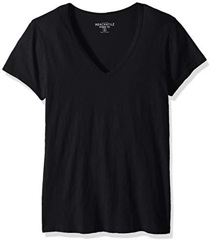 (J.Crew Mercantile Women's Short Sleeve V-Neck T-Shirt, Black, L)