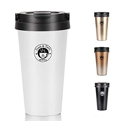 Double Walled Vacuum Insulated Travel Coffee Mug, Stainless Steel Flask, Sports Water Bottle, 380ML