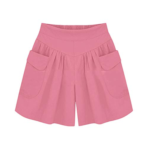 Plus Size Solid Loose Hot Pants Women Pockets Lady Summer Casual Shorts Pink
