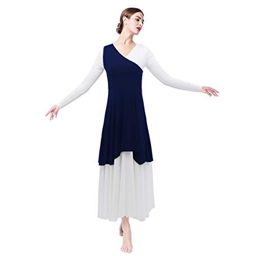Asymmetrical Praise Dance Tunic Pullover One Shoulder Worship Top for Adult Women Celebration of Spirit Full Length Long Sleeve Church Robe Dress Circle Swing Gown Ballet Dancewear Cotume Navy Blue -