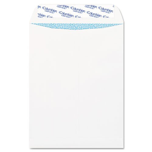 Seal Envelopes Catalog Grip - Grip-Seal Security Tinted Catalog Envelopes, 9 x 12, 28lb, White Wove, 100/Box