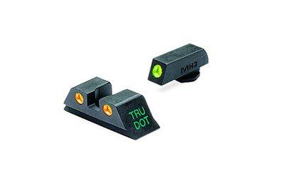 Meprolight Glock Tru-Dot Night Sight for 10 mm & .45 ACP. fixed set  with Orange rear/Green front by Meprolight
