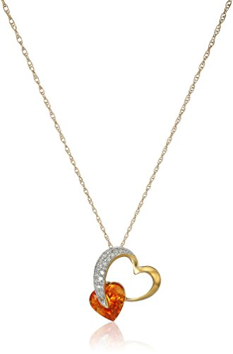 10k Yellow Gold Citrine and Diamond Heart Pendant Necklace (1/10 cttw, I-J Color, I2-3 Clarity), 18