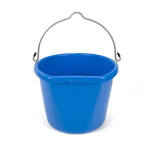 Fortiflex Flat Back Feed Bucket for Dogs/Cats and Small Animals, 24-Quart, Blue