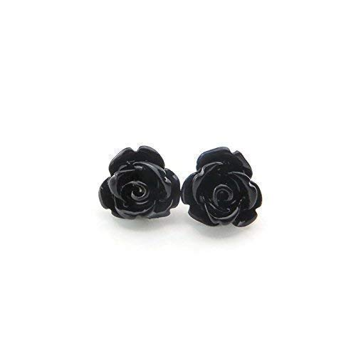 9mm Small Black Rose Studs, Hypoallergenic Plastic Post Earrings Metal Sensitive Ears