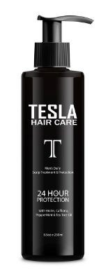 Tesla Hair Care Men's Scalp Therapy and Hair Loss Leave-in Treatment. Stimulate Hair Growth. Biotin, Caffeine, Peppermint and Tea Tree Oil (8.5oz)