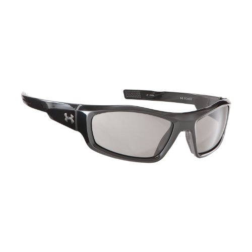 Under Armour Power Oversized Sunglasses,Shiny Black Frame/Gray Lens,one size, Outdoor Stuffs