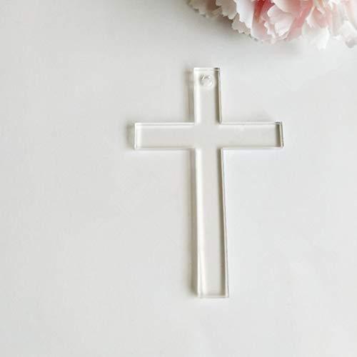15PCS Blank Clear Acrylic Cross Keychains,Clear Plexiglass Laser Cut Gifts, Cross Halloween Tags Save Date (Stye 1, 3