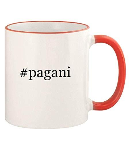 #pagani - 11oz Hashtag Colored Rim and Handle Coffee Mug, Red