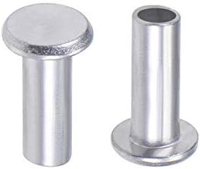 uxcell 50 Pcs 6mm x 16mm Aluminum Flat Head Semi-Tubular Rivets Silver Tone