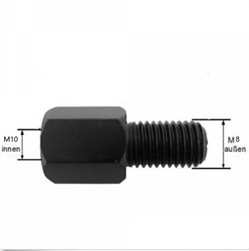 (YunShuo Motorcycle Scooter Mirror Adapter Right Turn 10mm to 8mm Left Hand Thread Black)