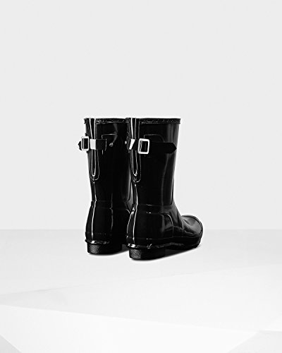 Hunter Womens Original Short Back Adjustable Gloss Rain Boots, Black