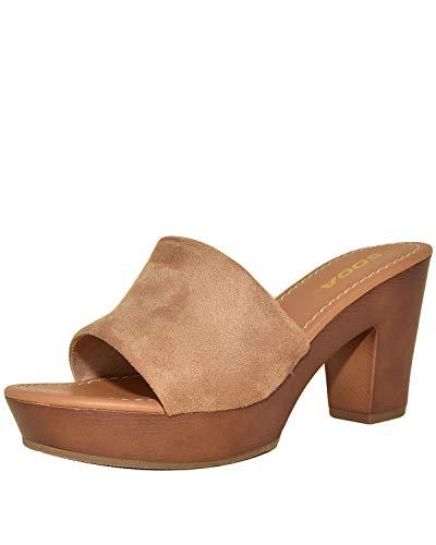 (Sidecca Soda Sunkist Faux Suede Wooden Slip On Mule Clog Heel (7, Taupe))