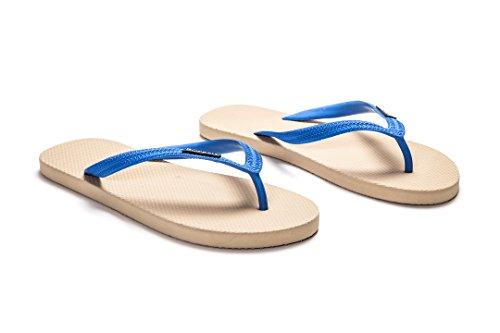 Pare-chocs En Caoutchouc Naturel Tongs Pour Hommes, Respectueux De Lenvironnement, Anti-dérapant Et Confortables Sandales De Plage Plates Sable Brun Et Bleu