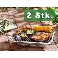 Einweggrill kleiner Silber One-Way Camping Picknick ✔ eckig ✔ tragbar ✔ Grillen mit Holzkohle