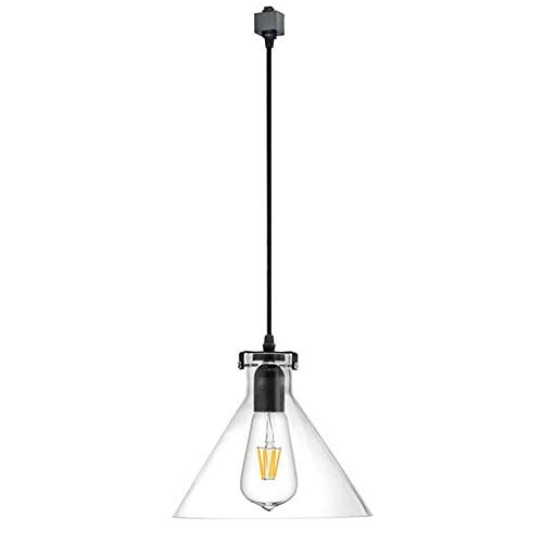 Kiven H-Type 3 Wire Glass Track Light Pendants Length 39.37 Restaurant Chandelier Decorative Chandelier Instant Pendant Light Bulb not Include Industrial Factory Pendant Lamp (TB0265-B)