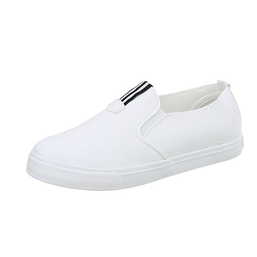 Ital-Design Sneakers Low Damenschuhe Sneakers Low Moderne Freizeitschuhe Weiß M-7F