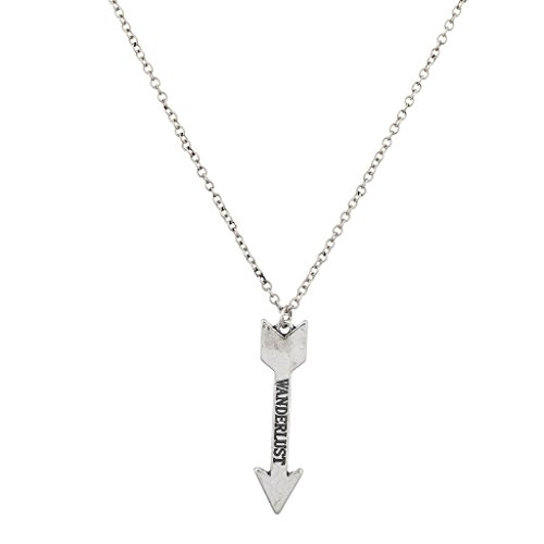 Lux Accessories Boho Burnish Silver Wanderlust Verbiage Arrow Pendant Necklace