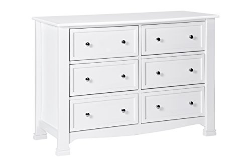 DaVinci Kalani 6 Drawer Double Wide Dresser KD, White (Wide Bedroom Chest Of Drawers)