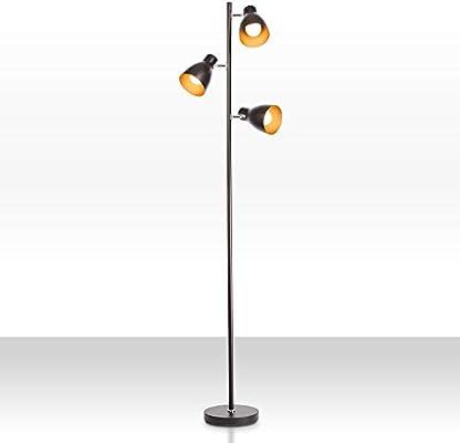 B.K.Licht Lámpara de pie diseño I 3 luces I Negro y Dorado I ...