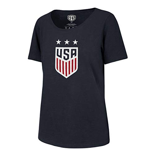 World Cup Soccer Women's OTS Slub Scoop Tee, U.S. Women's Soccer Team, Distressed Star Logo Navy, Medium