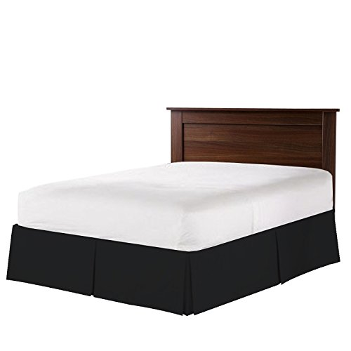 Nestl Bedding Double Brushed Microfiber Dust Ruffle, 14-Inch Tailored Drop Pleated Full Bed-Skirt, Black