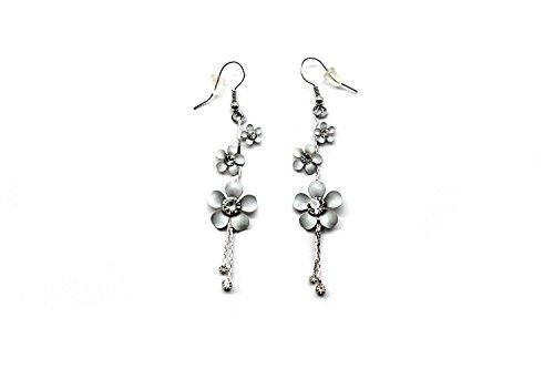 Hawaii Hagover Sparkly Plumeria Fashion Dangle Earrings in Silver (Hawaii Plumeria Earrings)
