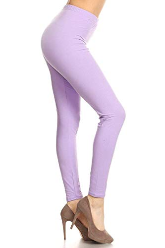 LDR128-Lilac Basic Solid Leggings, One Size -