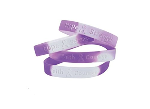 100 Purple Ribbon Camouflage Silicone Bracelets Support pancreatic cancer, Alzheimer's, lupus, animal abuse, Crohn's disease