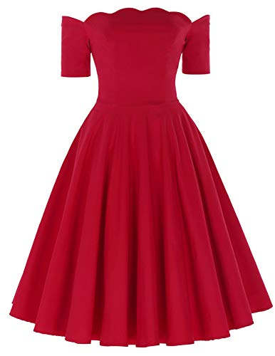 1950s Off The Shoulder Dress Long Sleeve Flared Dress for Cocktail Size XL -