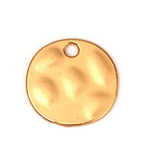 "PEPPERLONELY 10pc Matt Gold Alloy Hammered Irregular Charms Pendants 15x14mm (5/8"" x4/8"")"