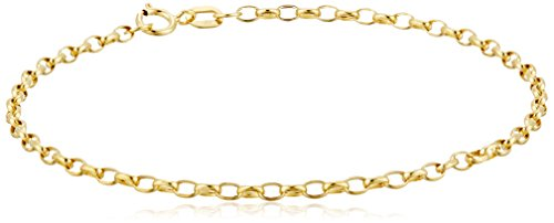 14k Yellow Gold Hollow Diamond-Cut Oval Belcher Bracelet, 7