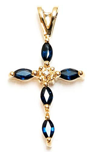 JewelMode 14K Yellow Gold Sapphire and Diamond Cross Shaped Pendant