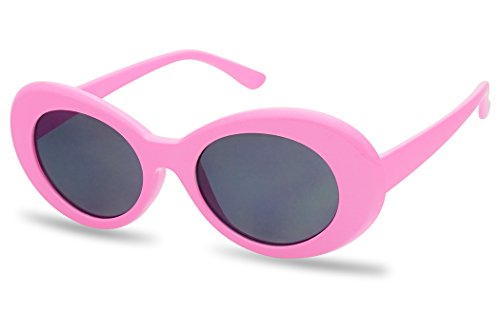 White Oval Clout Goggles Bold Retro Thick MOD 51mm Round Lens Sunglasses (Pink, Smoke) -