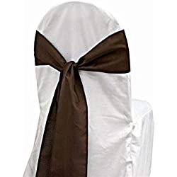 mds Pack of 50 Satin Chair Sashes Bow sash for Wedding and Events Supplies Party Decoration Chair Cover sash -Coffee