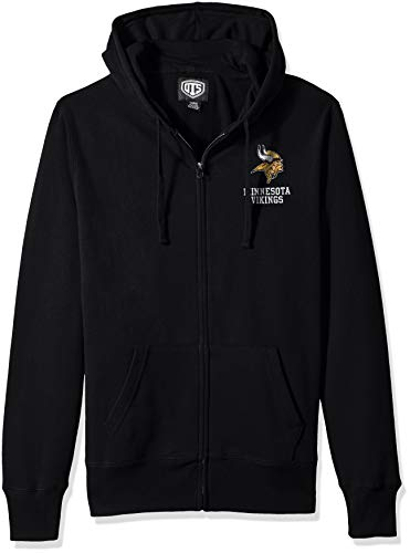 NFL Minnesota Vikings Male NFL OTS Fleece Full-Zip Hoodie Distressed, Jet Black, Medium