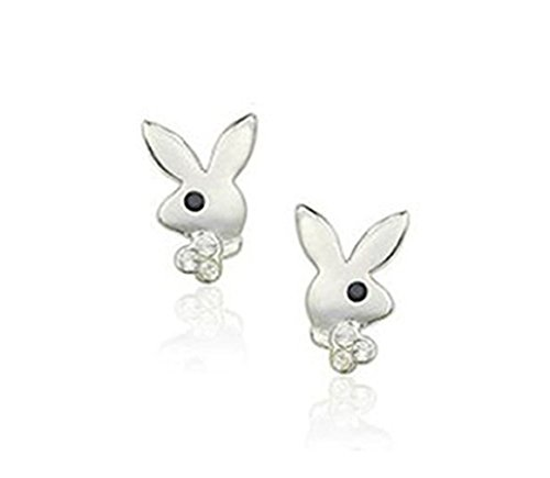 Simple Playboy Rabbit Bunny Logo Stud Earrings Fashion Jewelry for Women (Platinum Plated) ()