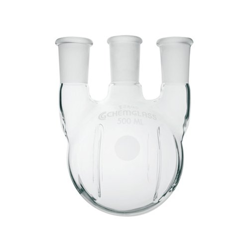 CG-1525-25 - 12 L - Round-Bottom Boiling Flasks with Three Vertical Necks, Heavy Wall, Chemglass - Each