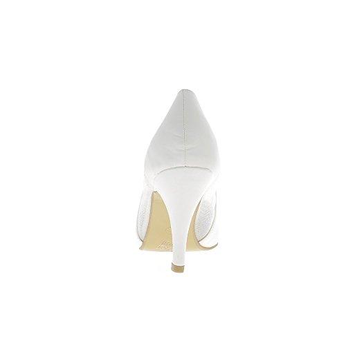 Escarpins femme grande taille blancs ouverts dentelle à talon de 9,5cm