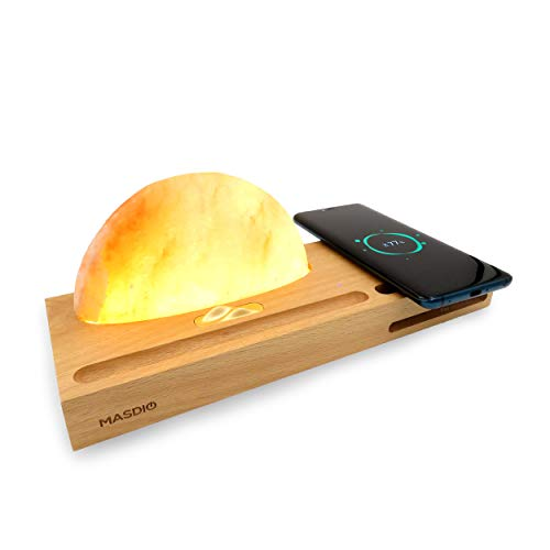 Masdio Sunrise Himalayan Salt Lamp, Ambient Lamp Meditation Lamp with Himalayan Salt, Wireless Charger, Sound Amplifier, Pen & Cell Phone Holder (Himalayan Salt)