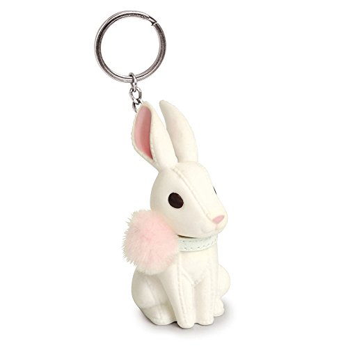 - Small Rabbit Keychain Mini Animal House Car Key Ring Pendant Strap Connector Cord Keychain for Women Girls(White)