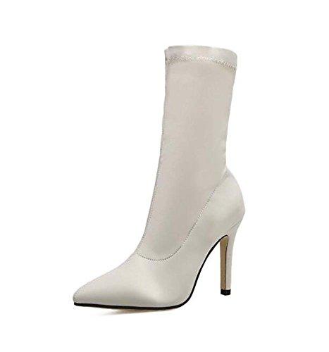 Zapatos 5 cm 9 estrecha Botas tela Stovepipe Stretch Eu vestir Blanco puro 34 de Boots punta Zapatos de cortas Moda Stiletto elástica Mujeres Color 40 boda Tamaño xwpqHw