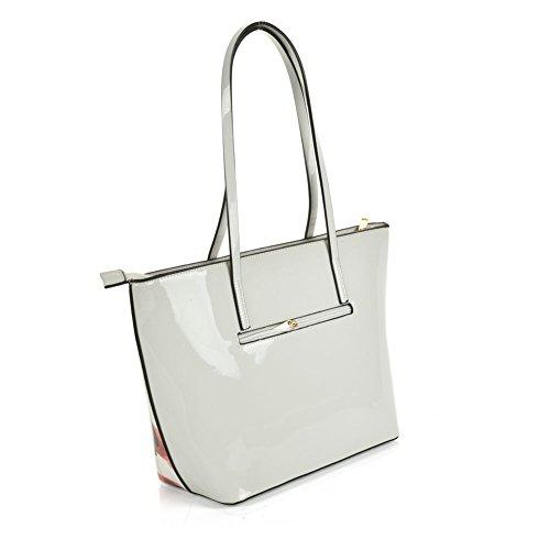 Sally Young, große modische Shopper-Schulter-/Handtasche, Leder-Look Weißer Schmetterling