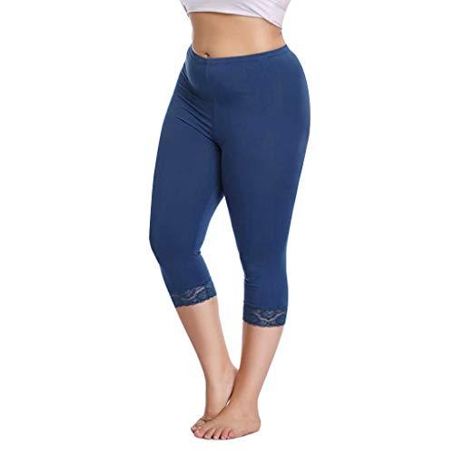 (JOFOW Capri Leggings Women Patchwork Lace Midi Sport Pants Solid Slim Fit Elegant Yoga Workout Running Crop Joggers Gift Blue)
